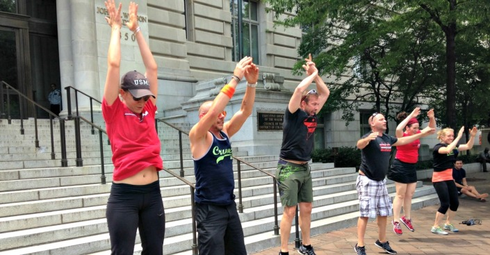 """Burpees"" for Change at Wilson Building in D.C."