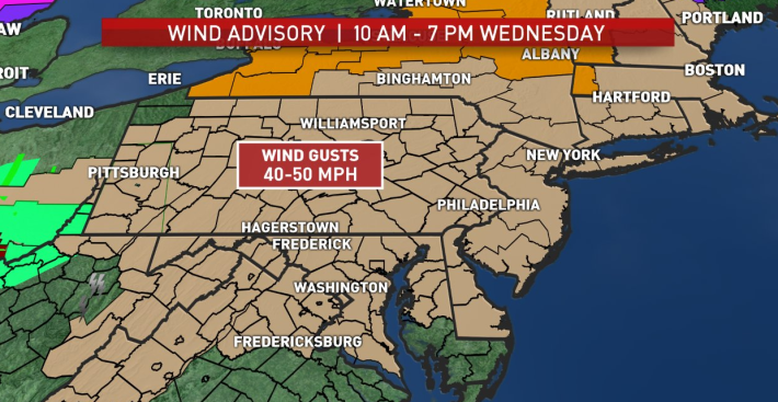 Strong, Potentially Damaging Winds Expected Into Wednesday Evening